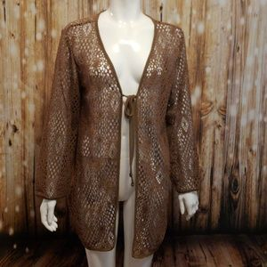 Brown crochet lace cardigan/ cover up